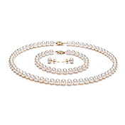 14k 7.5 - 8mm AA White Freshwater Pearl Three-Piece Set