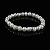 Elegant Ladies' Pearl Strand Bracelet In Silver Alloy