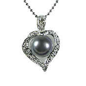 Elegant Silver Plated Black AA Freshwater Pearl Pendant Necklace