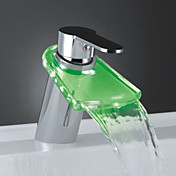 Color Changing LED Waterfall Bathroom Sink Faucet (Chrome Finish)