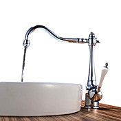 Chrome Finish Brass Kitchen Faucet (White Handle)