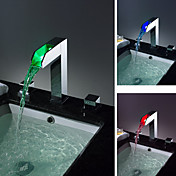 Two Handles Chrome Waterfall LED Bathroom Sink Faucet 0812-LPT02