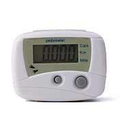 Mini White Pedometer Step Counter (Cals/Km/Mile)
