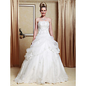 A-line Strapless Scalloped-Edged Neckline Organza Floor-length Wedding Dress