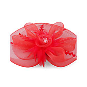 Kate Middleton Style Watch: Red Feather And Organza Lace Flower Wedding And Party Fascinator
