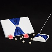 Splendor Wedding Guest Book and Pen Set With Royal Blue Sash