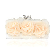 Chiffon Shell With Flower Evening Handbags/ Clutches