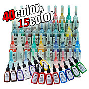 55 bouteilles d'encre de tatouage / 15 * 15ml et 40 5ml *