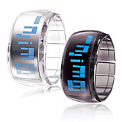 Pair of Futuristic Blue LED Wrist Watch - Black &amp; White