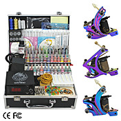 3 Cast Iron Guns Tattoo Kit with LCD Power and 55 Color Ink