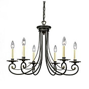 Elegant Chandelier with 6 Lights in Candle Bulb