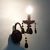 Black Crystal Wall Light with Candle Bulb