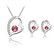 Beautiful Ladies Heart Shape Crystal Jewelry Sets In Sliver Alloy Including Necklace Earrings More Colors Available