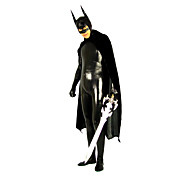 Black Shiny Metallic Spandex Zentai Inspired by Batman