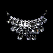 Crystal Bib With Ribbon Tie Necklace