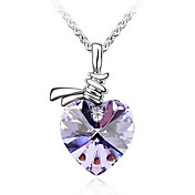 Heart Shape Crystal Necklaces In Silver Alloy More Colors Available