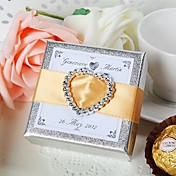Personalized Silver Favor Box With Rhinestone Heart (Set of 24)