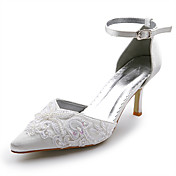Top Quality Satin Upper High Heel Pumps with Stitching Lace Wedding Bridal Shoes