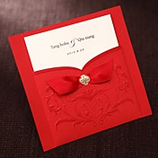Simple Asian Style Embossed Tri-fold Wedding Invitation In Red With Ribbons (Set of 50)
