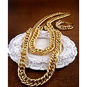 Unisex Jewelry Sets In Gold Alloy Including Necklace And Bracelet