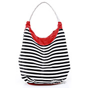 Hot Sale Women's Cotton Bag With Colorful Straps / White Handle