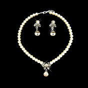 Pearls With Rhinestone Drop Jewelry Set Including Necklace and Earrings