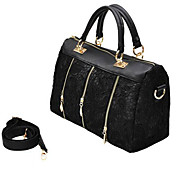 Trendy Woman's Lace Tote Bag With Three Zippers