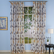 (Two Panels) Warm Jade Country Sheer Curtains