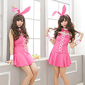 Cute Girl Pink Polyester Bunny Girl Costume (5 Pieces)