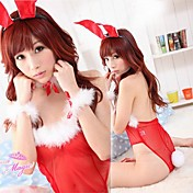 Super Fascinated Red Polyester Super Thin Bunny Girl Costume (4 Pieces)