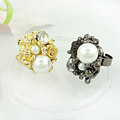 Rose Bouquet Ring With Imitation Pearl