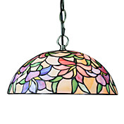 Tiffany Pendant Light with 2 Light in Floral Patterned Shade