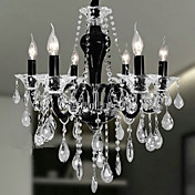 6-luz lustre de cristal no sotaque design preto