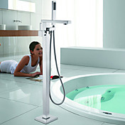 Contemporary Solid Brass Floor Standing Tub Shower Faucet with Hand Shower