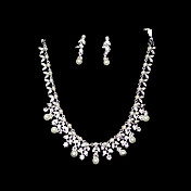 Pearl Beautiful Ladies Necklace and Earrings Jewelry Set (50 cm)