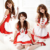 Cute Girl Red Polyester Maid Suit (3 Pieces)