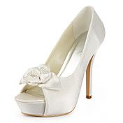 Satin Stiletto Heel Pumps / Peep Toe With Flower Wedding Shoes (More Colors Available)