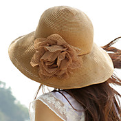 Polka Flower Sunblock Straw Floppy Hat