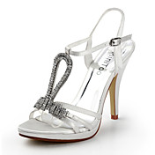 Satin Stiletto Heel Sandals Wedding / Honeymoon Shoes With Rhinestone (More Colors)