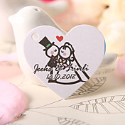 Personalized Heart Shaped Favor Tag - Bride &amp; Groom  (Set of 60)