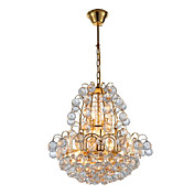 Golden Crystal Ceiling Light with 6 Lights Luxuriant Design