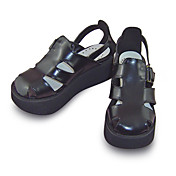 Handmade Black PU Leather 5cm Wedge Classic Lolita Sandals