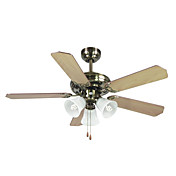 Wooden Anodizing Finished Hugger Ceiling Fan with 3 Lights White Glass Shades