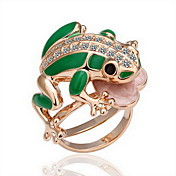wunderschnen Zirkonia 18k vergoldet Frosch Fashion Ring (weitere Farben)