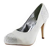 Satin Stiletto Heel Closed Toe / Pumps With Rhinestone Wedding Shoes (More Colors Available)