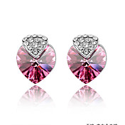 Heart With Heart Austrian Crystal In Real Platinum Plated Ladies' Earrings (More Colors)