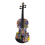 Kinglos - (LY-1101) Purple Flower Design Solid Spruce Violin Outfit (Multi-Size)