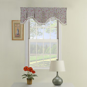 bege bordado valance ascot scalloped