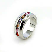 18k vergulde en mooie veelkleurige zirconia fashion ring mode mode ring
