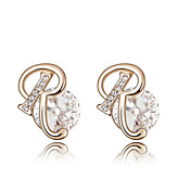 High Quality Alloy And Crystal 18K Gold Plated With R Earrings (More Colors)